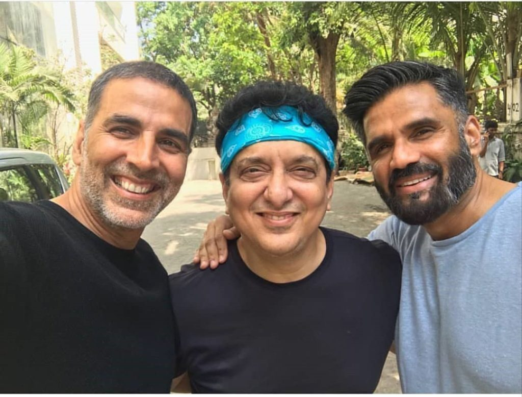 Sajid Nadiadwala with Sunil Shetty and Akshay Kumar