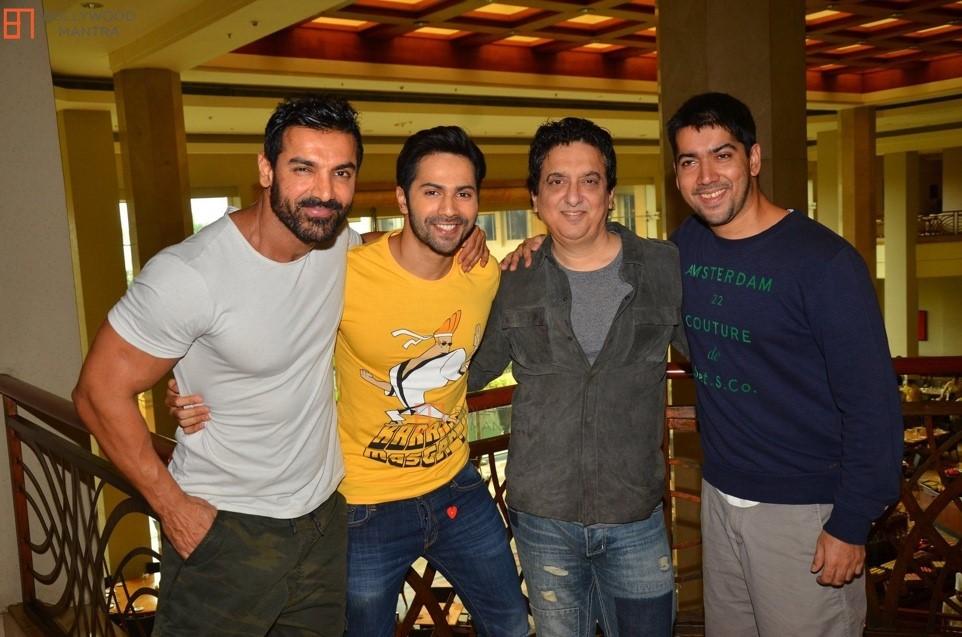 Sajid Nadiadwala with John Abraham, Varun Dhawan and Rohit Dhawan